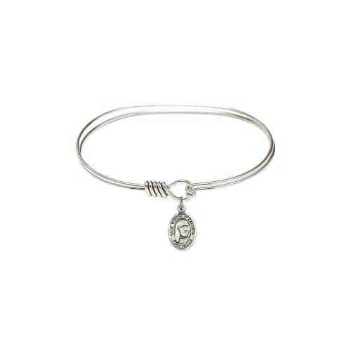 """Adult 7"""" Oval Rhodium Plated Bangle Bracelet with Blessed Teresa of Calcutta..."""