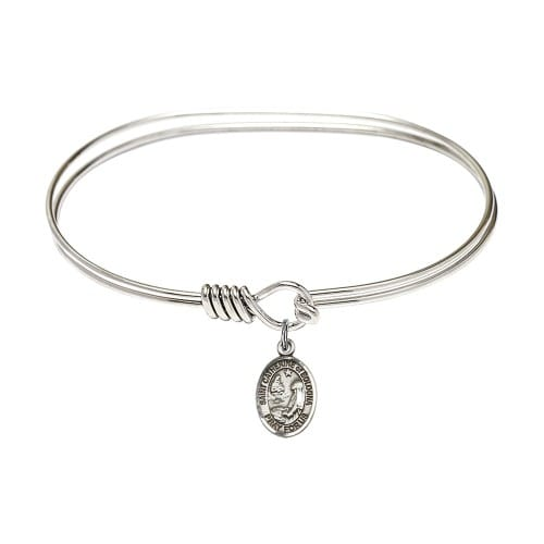 """Adult 7"""" Oval Rhodium Plated Bangle Bracelet with St. Catherine of Bologna Medal Charm"""