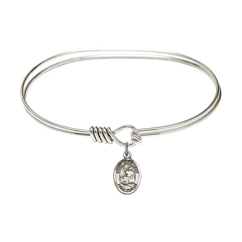 "Adult 7"" Oval Rhodium Plated Bangle Bracelet with St. John Licci Medal..."