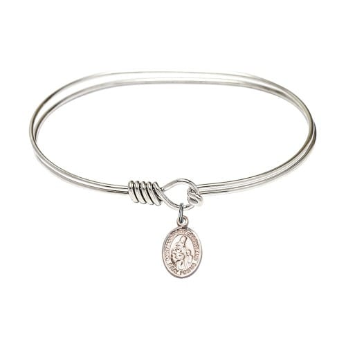"""Adult 7"""" Oval Rhodium Plated Bangle Bracelet with St. Margaret of Scotland Medal Charm"""