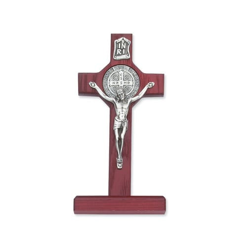 Cherry Stained Standing St. Benedict Crucifix 6""