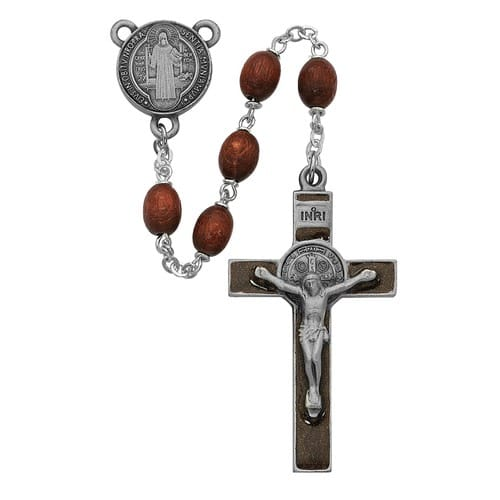 Brown Wood St. Benedict Rosary