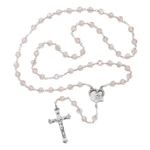 Mother and Child Pink Crystal Rosary