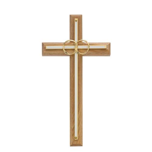 """Oak with Overlay Wedding Cross 8"""""""