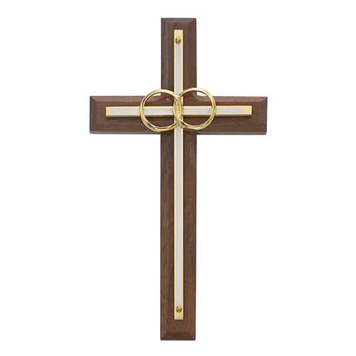 "Walnut with Overlay Wedding Cross 8"""