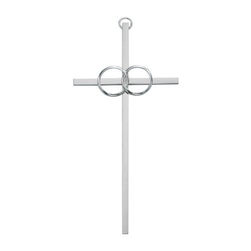 """Polished Aluminum Wedding Cross 6"""""""