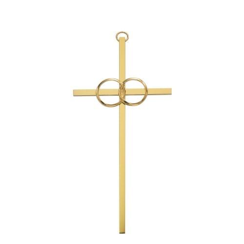 """Polished Brass Wedding Cross 6"""""""