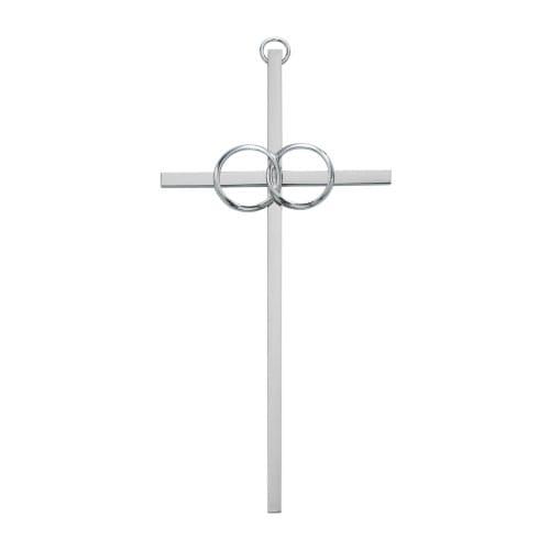 """Polished Aluminum Wedding Cross 10"""""""