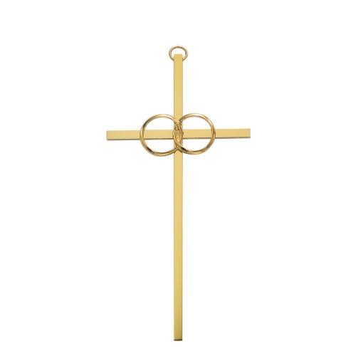 """Polished Brass Wedding Cross 10"""""""