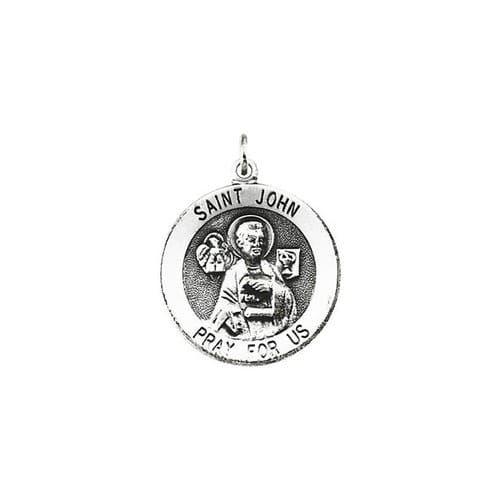 Sterling Silver 18.25mm Round St. John the Evangelist Medal