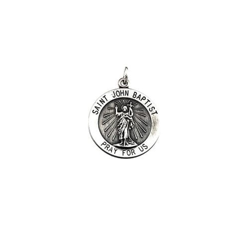 Sterling Silver 18.5mm Round St. John the Baptist Medal