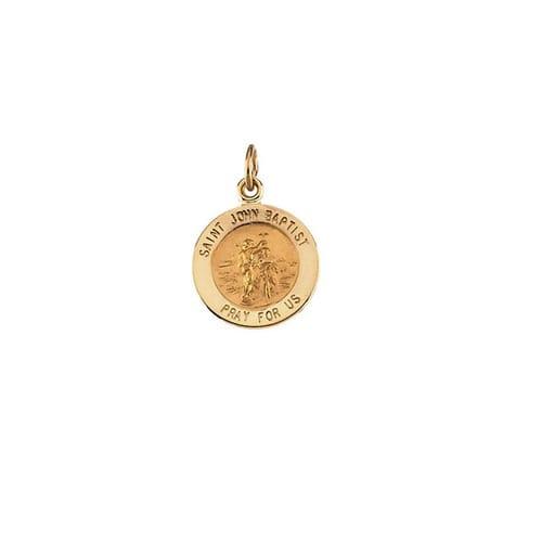 14kt Yellow Gold 12mm Round St. John the Baptist Medal