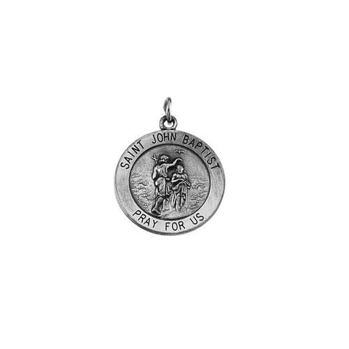 Sterling Silver 18.25mm Round St. John the Baptist Medal