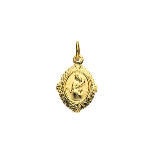 14kt Yellow Gold 12x9mm Scapular Medal