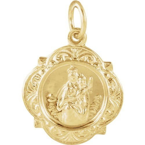 13kt Yellow Gold 12.14x12.09mm Scapular Medal