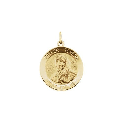 14kt Yellow Gold 18mm Mother Teresa Round Pendant Medal