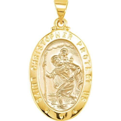 14kt Yellow Gold 25.5x17.75mm Oval St. Christopher Hollow Medal