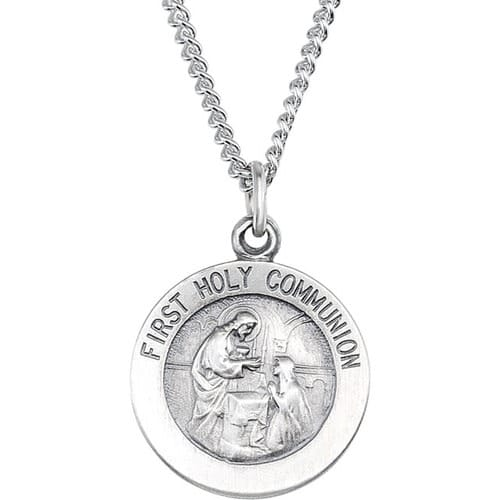 Sterling Silver 15mm First Communion Medal 18