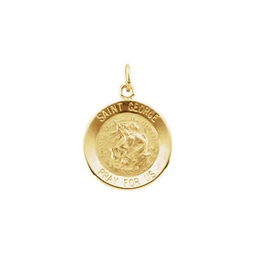 14kt Yellow 15mm Round St. George Medal