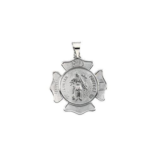 St. Florian prívesok medailu štít-14 K biele zlato-25.25 MM. Biele ... 8e577e748fe
