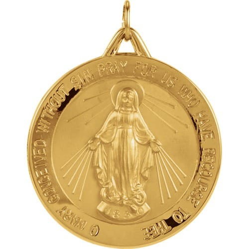 Round Miraculous Medal - 14K Gold (no chain)