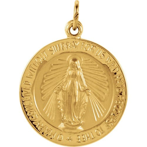 Round Miraculous Medal -14K Gold (no chain) [Medium]