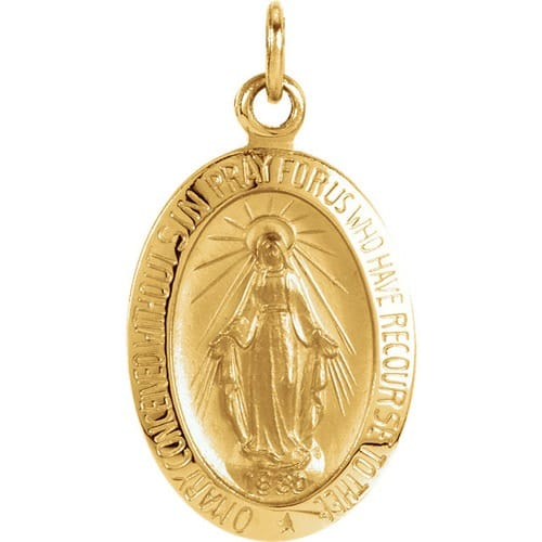 Oval Miraculous Medal -14K Gold (no chain) [Small]