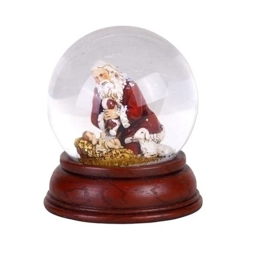 Kneeling Santa Snowglobe with Cherry Base