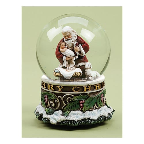 Kneeling Santa Musical Silent Night Snowglobe
