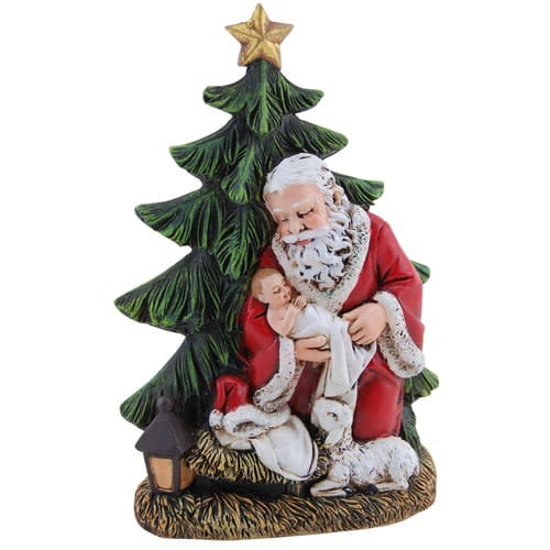 standing kneeling santa christmas tree figure the catholic company