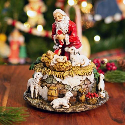 Kneeling Santa Musical Figure