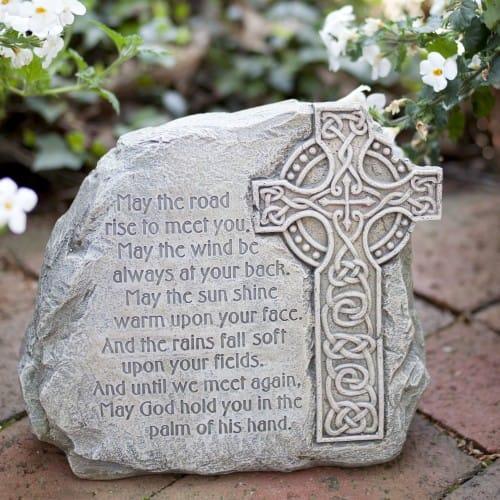 Celtic Cross Garden Stone with Irish Blessing