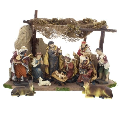 12-Piece Nativity Set with Burlap Stable