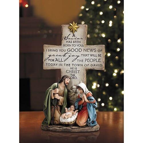 A Savior Is Born Nativity Cross Statue