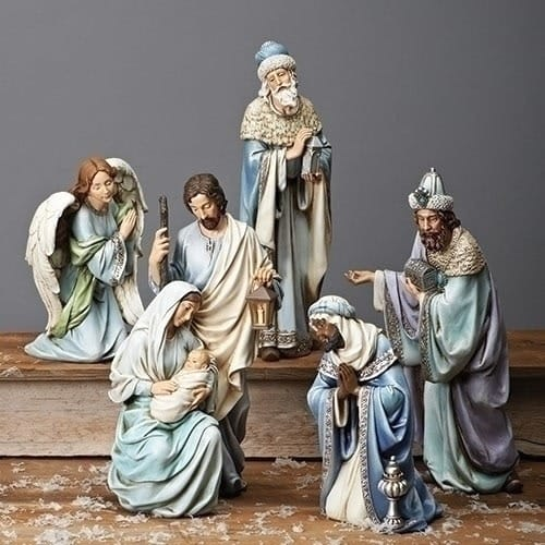 Image of Joseph's Studio 5 Piece Blue Robe Nativity Set