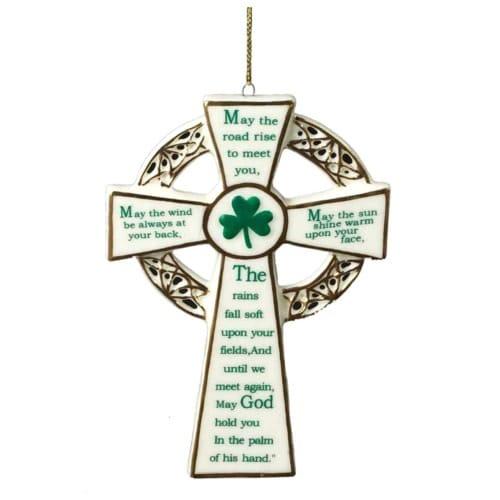 Porcelain Irish Blessing Cross Ornament