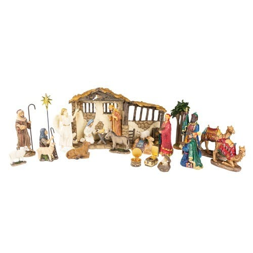 """Real_Life_Nativity_Set_with_Three_Gifts_7""""_Scale-_23_Piece_Set"""