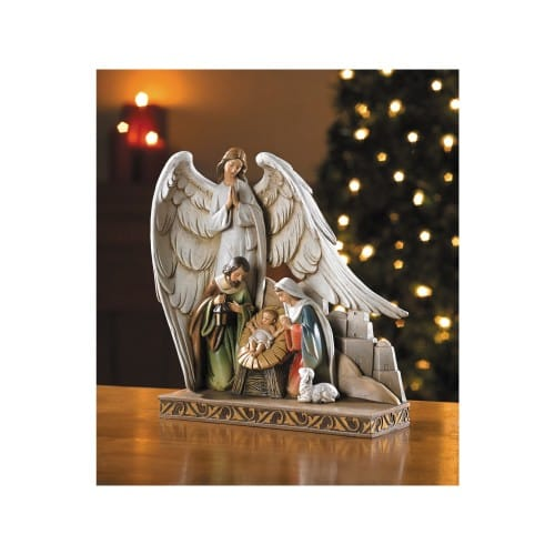 Nativity with Angel Figurine