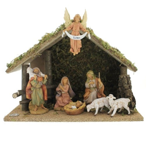 """Fontanini 7 Piece Nativity Set with Italian Wood Stable 5"""" Scale"""