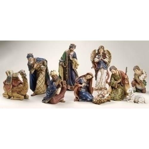 "Ornate 10 Piece Nativity Set - 19"" Scale"