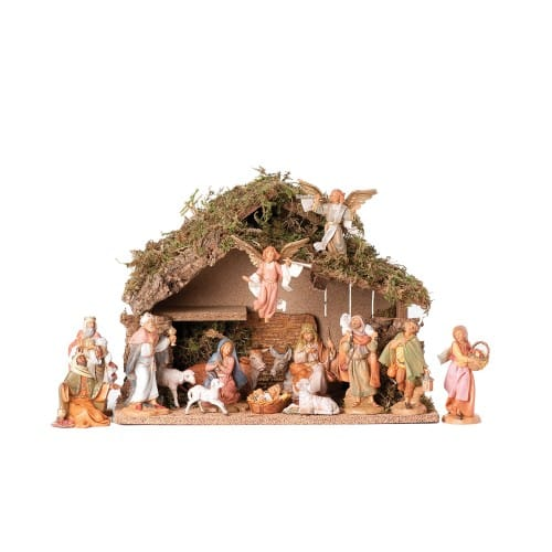 """Fontanini 16 Piece Nativity Set with Italian Stable 5"""" Scale"""
