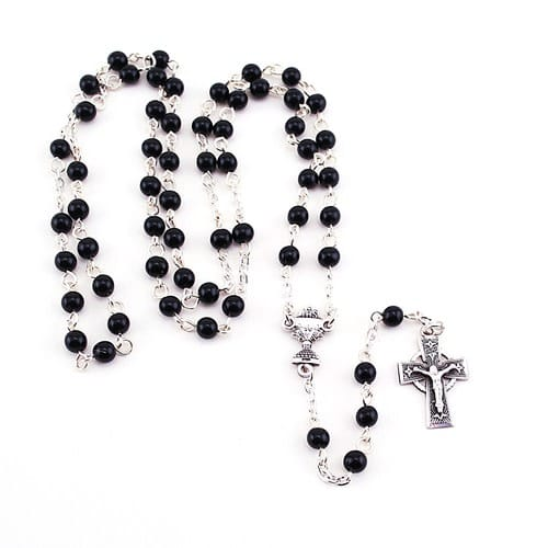 SS Black Bead Irish Communion Rosary