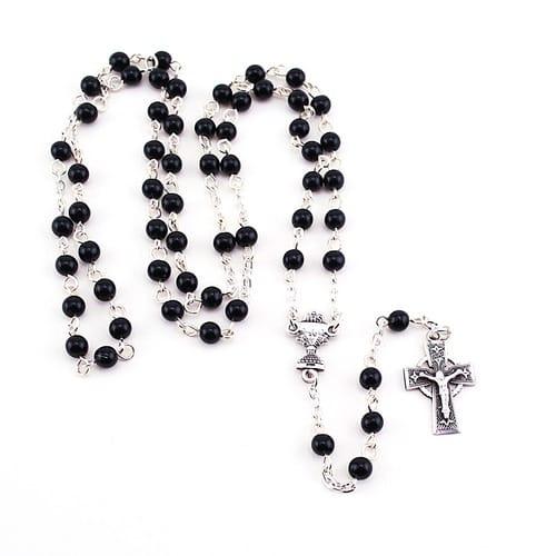SS Black Bead Irish Communion Rosary