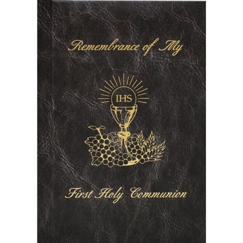 First Holy Communion Remembrance Mass Book - Black Hardcover