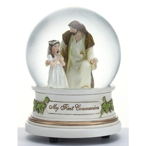 First Communion Girl with Jesus Glitterdome