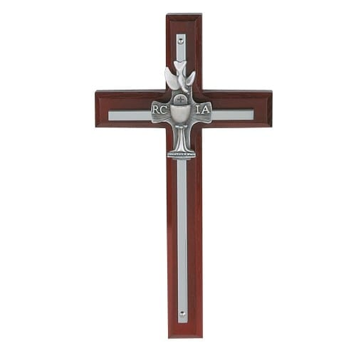 Cherry Overlay RCIA Cross - 7 inch