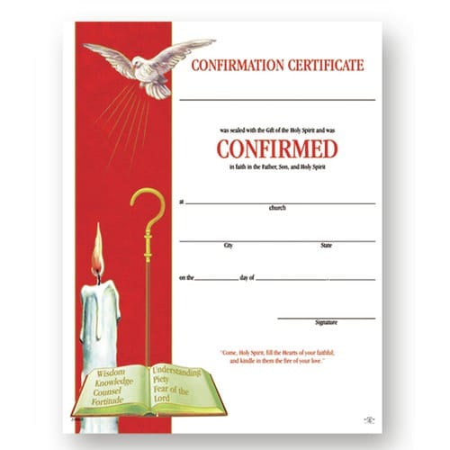 Confirmation Certificate (50 Pack)