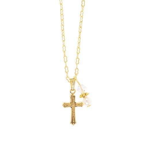 First Communion Cross Charm Necklace