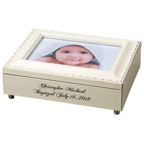 Engraved Baptism Frame Keepsake Music Box