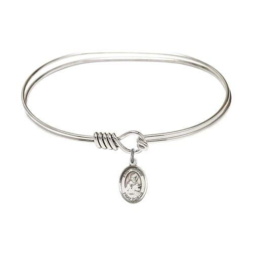 Rhodium plated bangle bracelet with st isidore of seville medal charm